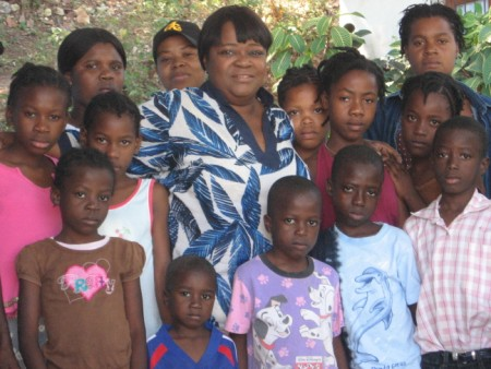 Sarah with Group of Haitian Children
