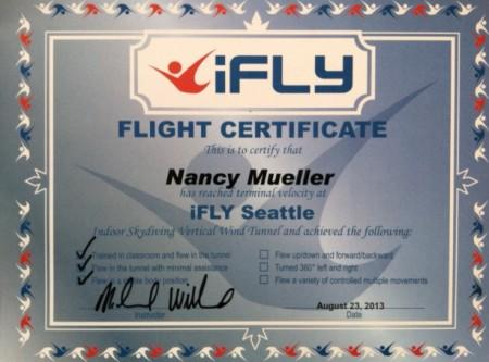 Nancy Mueller iFLY Certificate
